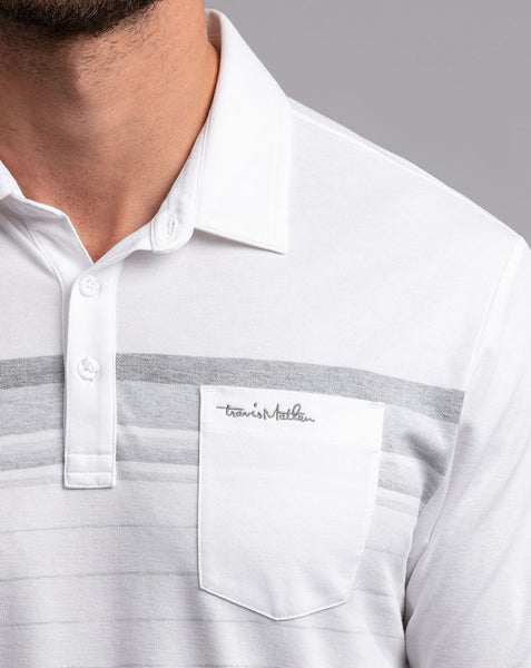 TRAVIS MATHEW MENS OFF THE TRACK WHITE GOLF SHIRT