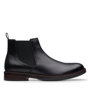 CLARK MENS PAULSON UP BLACK LEATHER BOOT
