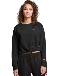 CHAMPION LADIES CAMPUS FLEECE CROPPED BLACK CREWNECK SWEATER