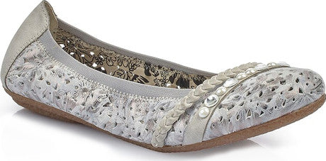 RIEKER LADIES 41458-91 GREY FLAT