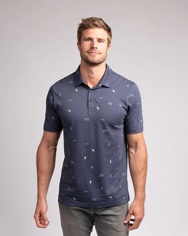 TRAVIS MATHEW MENS HAPPY THOUGHTS MOOD INDIGO GOLF SHIRT