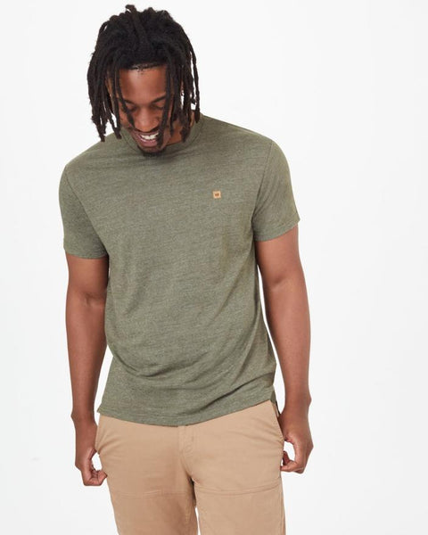 TEN TREE MENS STEP HEM OLINE NIGHT GREEN TSHIRT