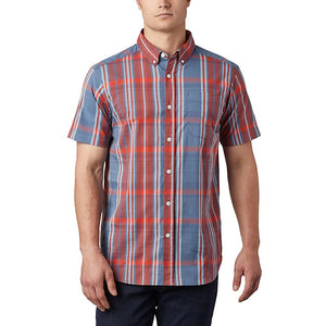 COLUMBIA MENS RAPID RIVER II CARENELIAN RED LARGE PLAID SS SHIRT