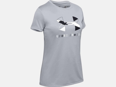 UNDER ARMOUR YOUTH GIRLS TECH GRAPHIC BL MOD GREY TSHIRT