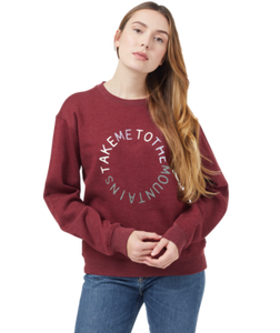 TEN TREE LADIES TO THE MOUNTAINS BURGUNDY RED HEATHER CREWNECK SWEATER