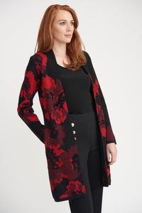 JOSEPH RIBKOFF LADIES BLACK/RED CARDIGAN