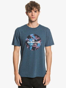 QUIKSILVER MENS SUMMERS END MAJOLICA BLUE HEATHER TSHIRT