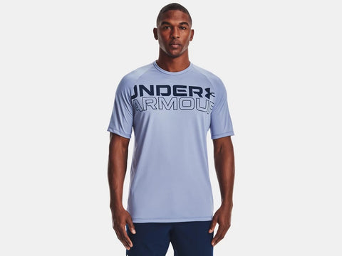 UNDER ARMOUR MENS TECH 2.0 WORDMARK WASHED BLUE TSHIRT