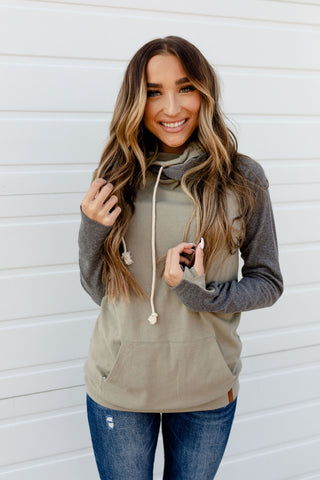 AMPERSAND AVE LADIES BASIC DENVER LIGHT OLIVE DOUBLEHOOD HOODIE