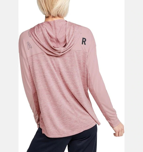 UNDER ARMOUR LADIES TECH TWIST GRAPHIC HUSHED PINK/DASH PINK HOODIE