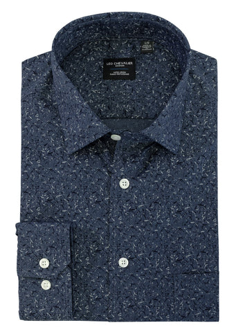 LEO CHEVALIER MENS LS 100% COTTON NON IRON BLUE DRESS SHIRT