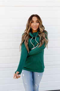 AMPERSAND AVE LADIES HUNTER GREEN COWLNECK SWEATER