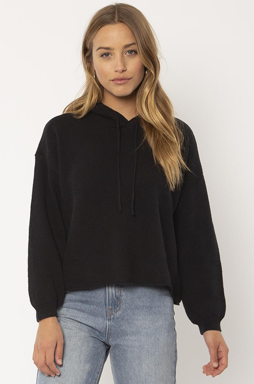 SISSTREVOLUTION LADIES MARLEY LS KNIT BLACK SWEATER