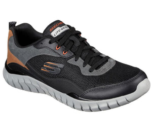 SKECHERS MENS OVERHAUL BETLEY BLACK/CHARCOAL RUNNING SHOE