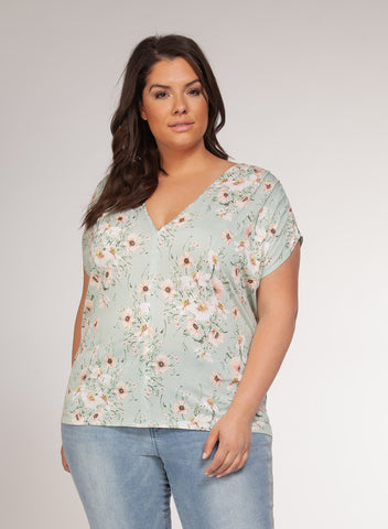 DEX CLOTHING LADIES V-NECK MINT FLORAL TSHIRT
