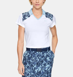 UNDER ARMOUR LADIES ZINGER BLOCKED WHITE/BLUE FROST GOLF SHIRT