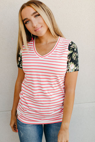 AMPERSAND & AVE LADIES ACCENT SLEEVE LULU CORAL STRIPE FLORAL TSHIRT