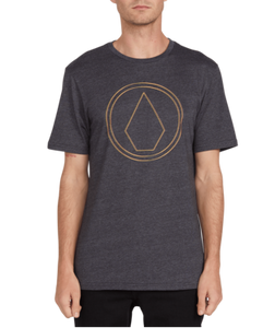 VOLCOM MENS OFF PIN HEATHER BLACK TSHIRT