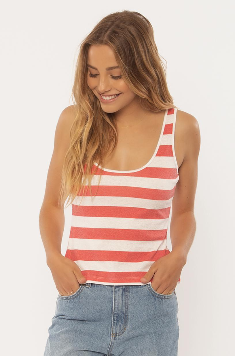 SISSTREVOLUTION LADIES WASHED AWAY KNIT CAYENNE  TANK