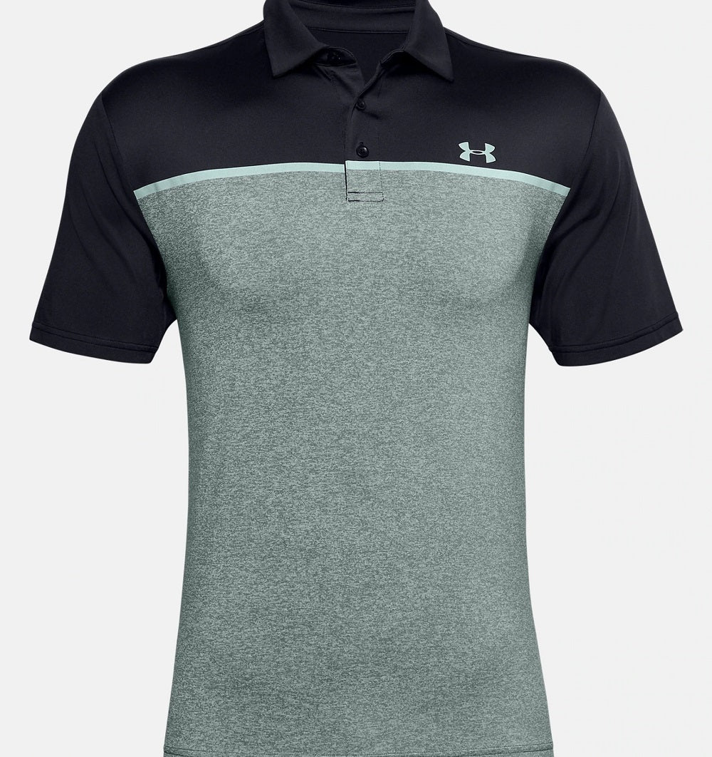 UNDER ARMOUR MENS PLAYOFF BLACK/LICHEN BLUE/ENAMEL BLUE POLO