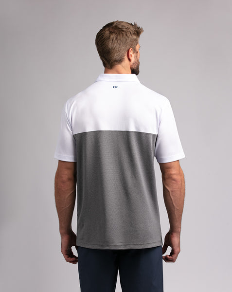 TRAVIS MATHEW MENS PROPERLY HYDRATED WHITE GOLF SHIRT
