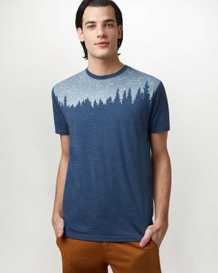 TEN TREE MENS CONSTELLATION JUNIPER DARK OCEAN BLUE HEATHER TSHIRT