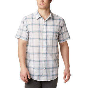 COLUMBIA MENS UNDER EXPOSURE YARN-DYE WHITE TARTAN PLAID SS SHIRT