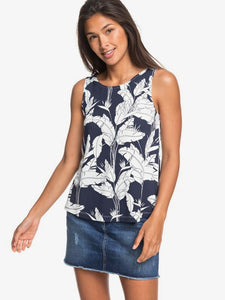 ROXY LADIES FINE WITH YOU MOOD INDIGO FLYING FLOWERS TANK
