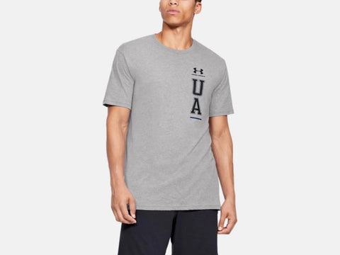 UNDER ARMOUR MENS VERTICAL LOGO STEEL LIGHT HEATHER TSHIRT