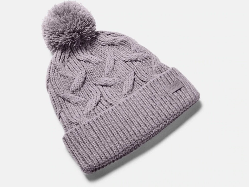 UNDER ARMOUR LADIES AROUND TOWN POM SLATE PURPLE BEANIE