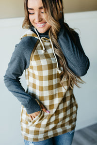 AMPERSAND AVE LADIES DOUBLEHOOD GOLDENROD GINGHAM HOODIE