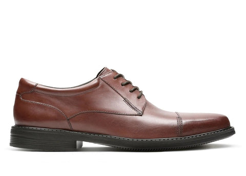 CLARK MENS WENHAM CAP BROWN LEATHER DRESS SHOE