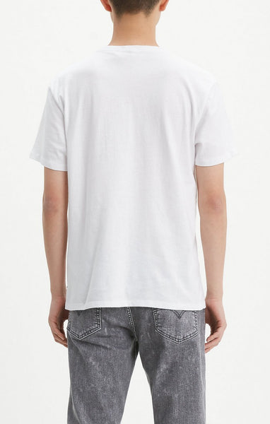 LEVI MENS SET-IN NECK WHITE GRAPHIC TSHIRT