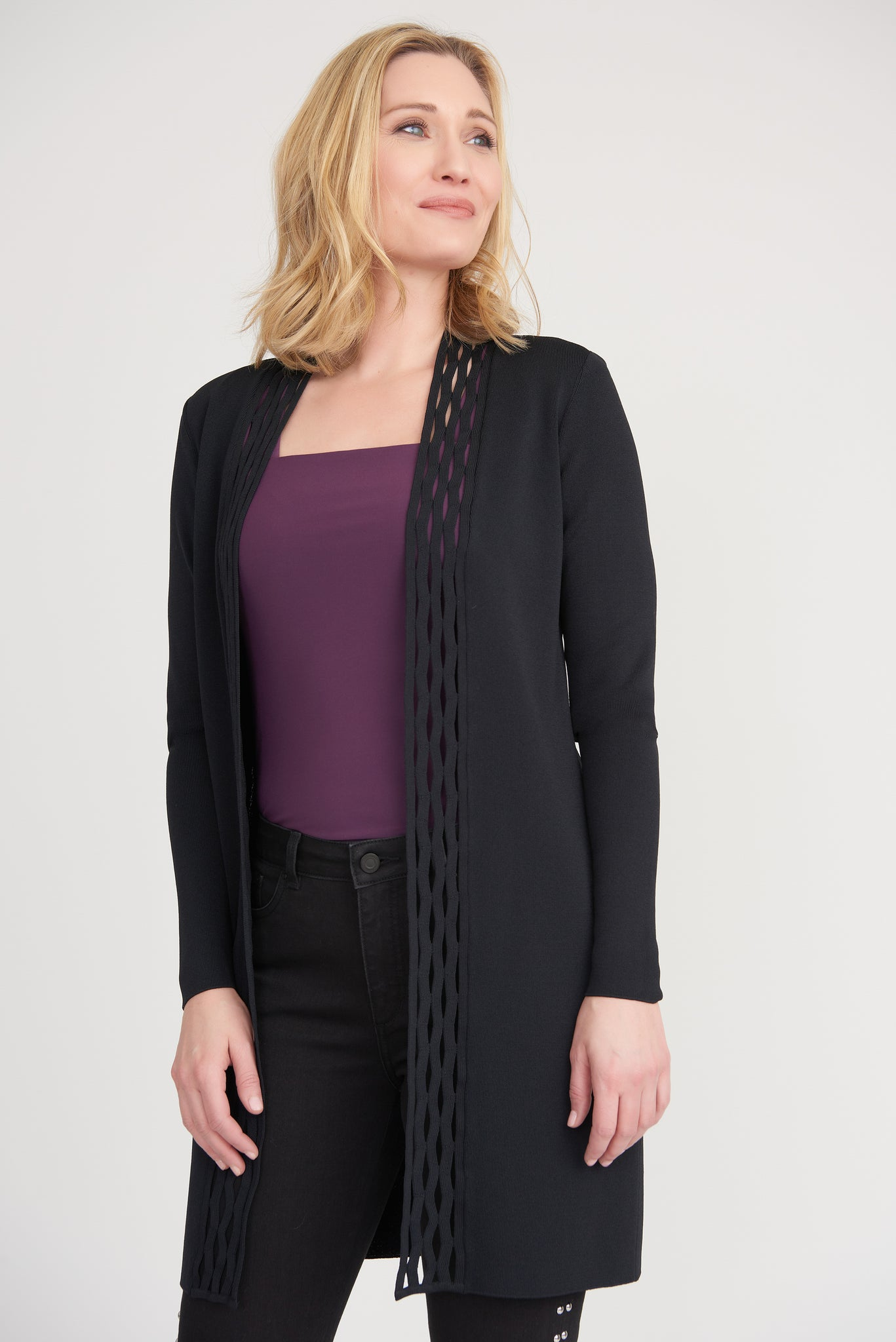JOSEPH RIBKOFF LADIES LS BLACK CARDIGAN