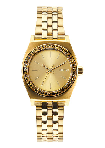 NIXON SMALL TIME TELLER ALL GOLD CRYSTAL WATCH