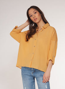 DEX CLOTHING LADIES LS LIGHT MUSTARD TOP WITH SMOKING DETAIL
