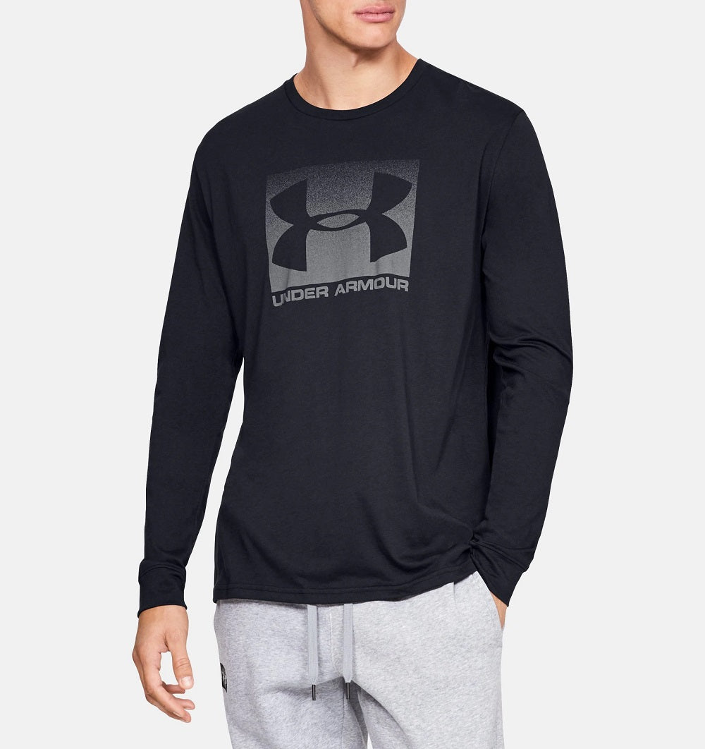 UNDER ARMOUR MENS BOXED SPORTSTYLE BLACK/GRAPHITE LS TSHIRT