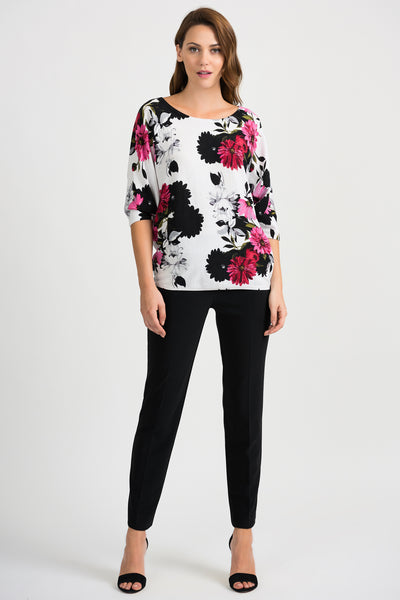 JOSEPH RIBKOFF LADIES WHITE/FLORAL KNIT LS TOP