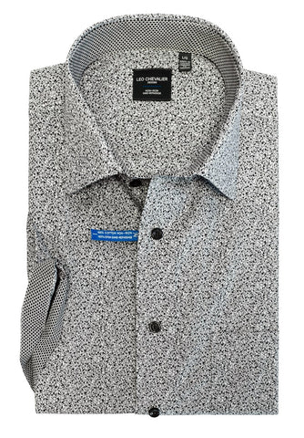LEO CHEVALIER MENS 100% COTTON NON IRON GREY PRINT SPORT SHIRT