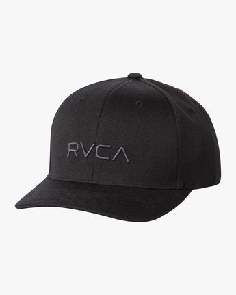 RVCA MENS FLEX FIT BASEBALL BLACK HAT