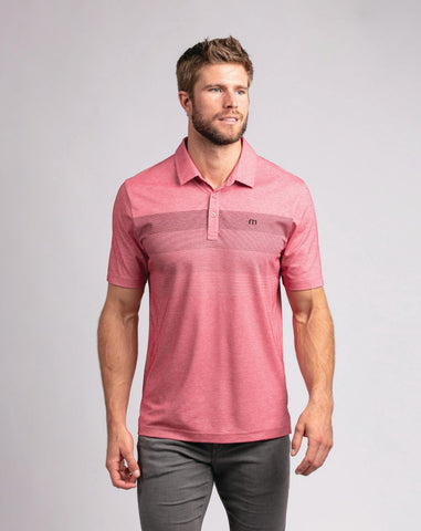 TRAVIS MATHEW MENS TWO MIN DRILL HEATHER SCOOTER GOLF SHIRT