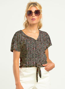 DEX LADIES SS TIE FRONT PRINTED KNIT TOP