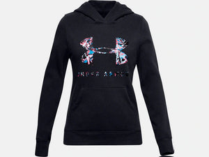 UNDER ARMOUR YOUTH GIRLS PRINT FILL LOGO BLACK HOODIE
