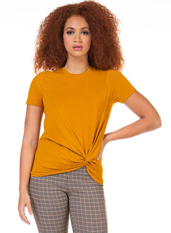 DEX CLOTHING LADIES SS FRONT TWIST MARIGOLD TSHIRT