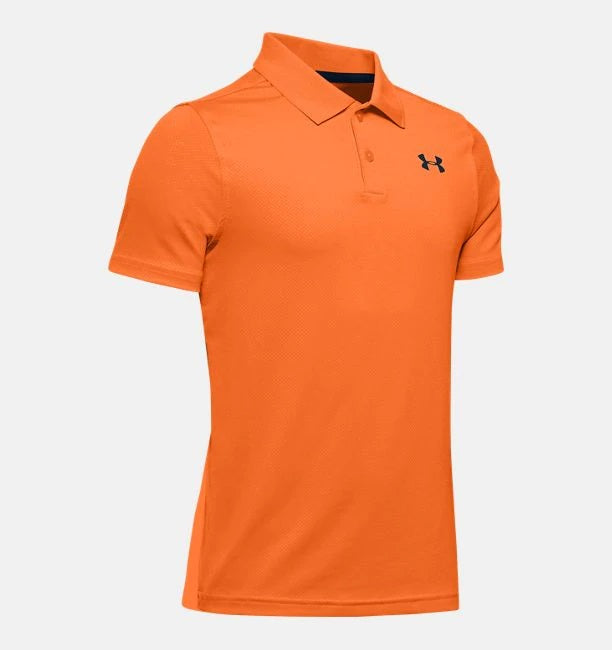 UNDER ARMOUR YOUTH PERFORMANCE TEXTURED ORANGE SPARK POLO