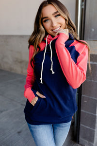 AMPERSAND AVE LADIES BASIC SEATTLE CORAL/NAVY DOUBLEHOOD HOODIE