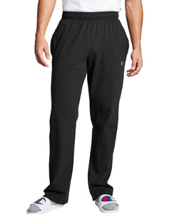 CHAMPION MENS OPEN BOTTOM BLACK JERSEY PANT