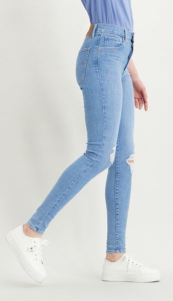LEVI LADIES MILE HIGH SUPER SKINNY GALAXY FAR AWAY JEANS