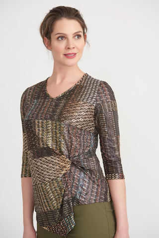 JOSEPH RIBKOFF LADIES 3/4 SLEEVE BLACK/MULTI TOP