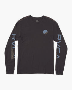 RVCA MENS FRACTION PIRATE BLACK LS TSHIRT